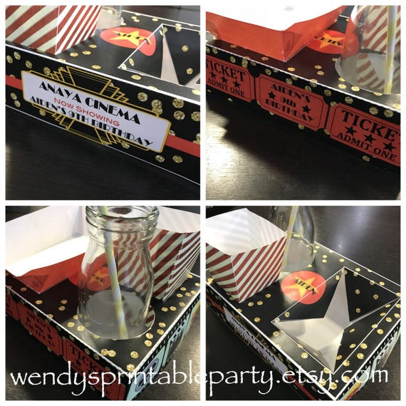 Red Black Movie NightParty Food Lunch Box With Hotdog Tray Popcorn