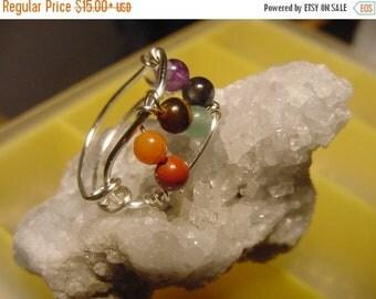 SPRING SALE SALE!! Chakra Ring, Semi  Precious Stones, Wire Wrapped Silver, Harmonize, Reiki Jewelry, Chakra Jewelry, Healing Jewellery, Spi