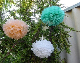 18x Mixed Size Mint Peach White Tissue Pom Poms • Wedding Engagement Birthday Party Anniversary Baby Shower Bridal Shower Christening Decora