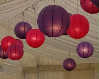 9x Red & Purple Paper Lanterns with LED Bulbs for Wedding Engagement Anniversary Birthday Party Hanging Lighting Decoration