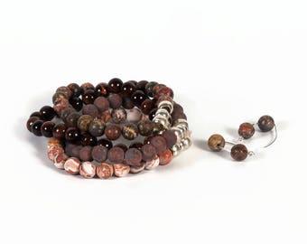 brown jewelry set, brown set, jewelry set, brown jewelry, lapis lazuli, Mexican agate, red aventurine, bracelet and earrings, modern design