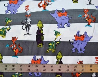 Dr Seuss Halloween CAT in the HAT, Grinch and Friends dark Gray Stripe Quilt Fabric By-the-HALF-yard