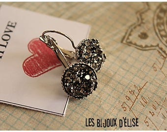 Grey Druzy LeverBack  Earrings Faux Druzy Earrings Shiny Faux Druzy Bridesmaid Gift (DRU05) - 14mm  - Stainless Steel - New Style