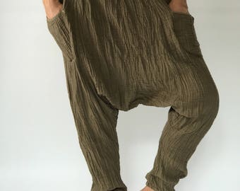 "HL0074 Olive green Soft Harem Pants super soft rayon baggy unisex harem pants have the ""flow"", perfect of yoga"