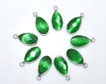 Green Catseye Quartz Bezel Set Pear Connector, hydro Quartz Connector , 13x8mm Bezel Chain - Chain 55AA62A