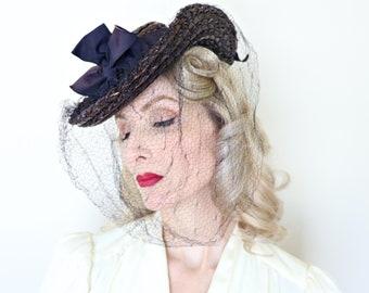 Vintage 1940s Hat / Tilt Hat / New Old Stock / Straw / Navy Blue / Veil