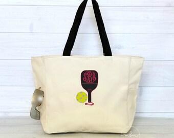 Monogram Pickleball Tote Bag With Zipper Top - Large Pickleball Tote - Gift for Pickleball Player - Choose Colors