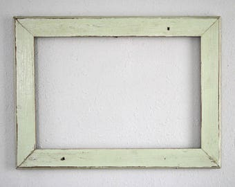 13 x 19 Chippy Green V-groove House Siding Frame,  Distressed, Reclaimed , One-of-a-kind