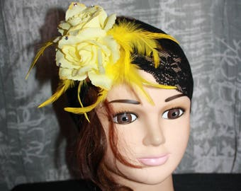 AUDREY black elastic lace headband