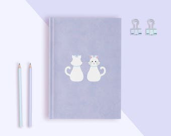 White Cat Hardcover Journal | MEOW Cat Series