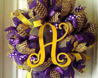 Wreath-Lsu Wreath-Initial Wreath-Ribbon Wreath-lsu-Purple Wreath
