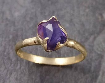 Partially faceted Tanzanite Crystal Solitaire 18k recycled yellow Gold Ring Rough Gemstone Tanzanite stacking cocktail statement  1039
