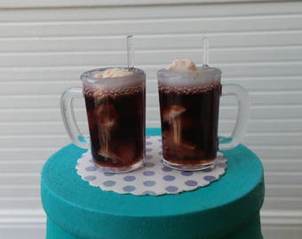 1:12 Miniature Scale Root Beer Float; Set of 2 Mugs