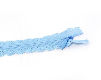Rits 22cm decoratieve lace blauw