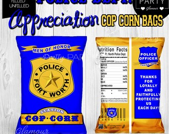 Police Department Copcorn Birthday Party Theme Appreciation Bags Treat Popcorn Bags Customized Chip Bags