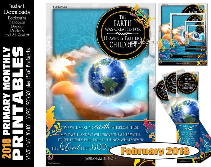 Printable Primary Monthly Posters February 2018 I am a Child of God Poster Bookmark and Handouts 5 sizes XL poster size down to handout size