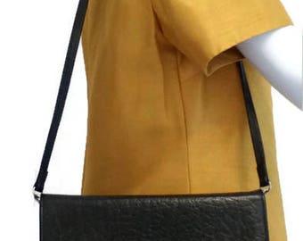 Buffalo leather clutch, buffalo leather shoulder bag, black leather bag
