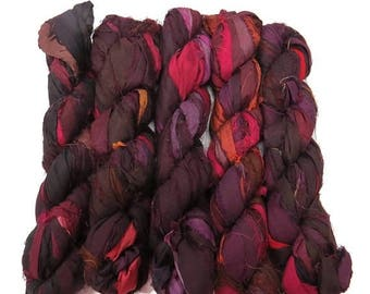 SALE New! Recycled Sari Silk Ribbon, 100g skeins, Blackberry