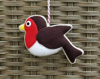 Handmade felt robin christmas ornament