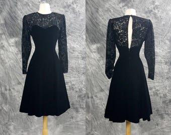 80s Black velvet dress, fit and flare, sheer floral long sleeves and open back, prom, formal, little black dress, Niki originals, medium
