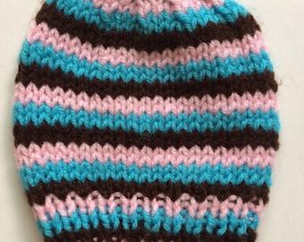 Striped pink blue brown newborn baby beanie hat cap size 0-3 months