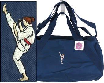 Karate Woman Duffel Martial Arts  Overnight Weekender Gym Bag + Free Name Monogram Custom Embroidered