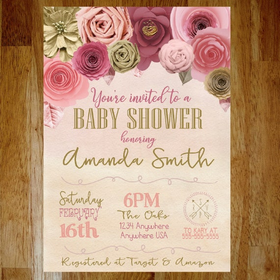 Flower Baby Shower Invitation Paper Flower Floral Baby Shower
