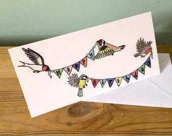 Birds and Bunting Birthday Card