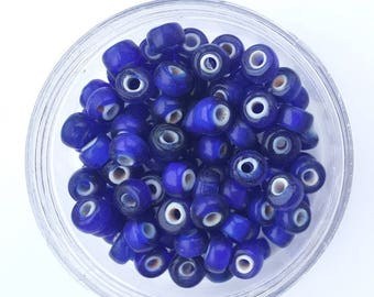 50 x Dark Blue Crow Glass Translucent Pony White Heart Beads Size 9mm x 6mm with a 3mm hole