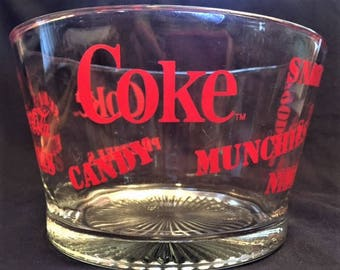 Coca Cola glass snack serving bowl