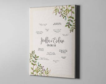SALE 50% Off Canvas Guest Book, Greenery Leaves Wedding GuestBook, Foliage Summer GuestBook Alternative, Bridal Shower Gift Ideas - CGB131