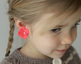 Bright pink clip on earrings, flower clip ons, girls earrings, play earrings, girl accessory, girls gift