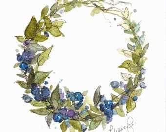 Blueberry wreath (original watercolor)