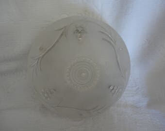 Vintage Ceiling Globe Light Fixture Frosted Glass Grape Berry Vines Design