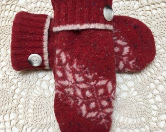 Wool mittens-Upcycled recycled warm red and  off white felted wool mittens