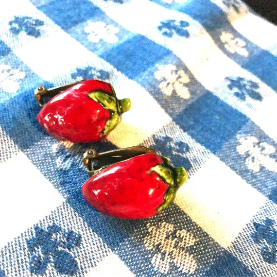 Simply Adorable & Rare Vintage Antique Porcelain Ceramic Strawberry Shiny Glazed Clip On mini fruit Earrings 1950's
