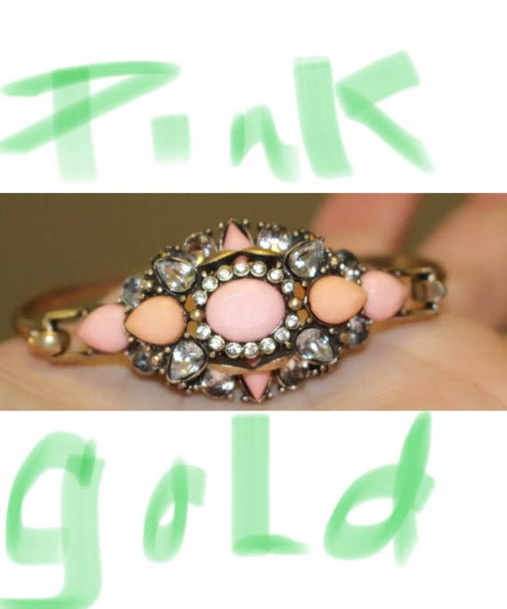 Recently Vintage - mid to late 90's burlesque-y Pink & Ice Victorian Revival Romantic Glam Bracelet