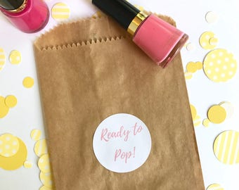 Ready To Pop! Sticker   Baby Shower Favor Bag Circle Sticker   Its a Girl Pink Favor Bag Gift Label   Envelope Seal Package Sticker