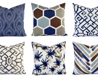 Blue Pillow Sham - Brown Pillow Cover - Blue and Brown Throw Pillow Cover - Blue Decorative Pillow Cushion Cover Pillow - Accent Pillow