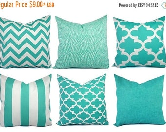 15% OFF SALE Outdoor Pillow Covers - Aqua Pillow - Teal Pillow Cover - Patio Pillow - Turquoise Pillows - Chevron Pillow - Solid Pillow - Qu