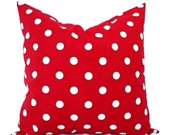 15% OFF SALE Two Red Pillow Shams - Red Toss Pillow Cover - Polka Dot Pillow - Red Pillow Cover - Red White Pillow - Red Polka Dot Pillow -