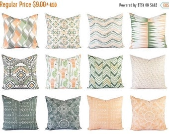 15% OFF SALE One Throw Pillow Cover Peach and Green - 16 x 16 Inch 18 x 18 Decorative Pillow - Peach Pillow - Green Pillow -  Grey Pillow Co