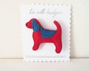 Dog Beagle Felt Brooch - Wool Blend Felt Jewellery