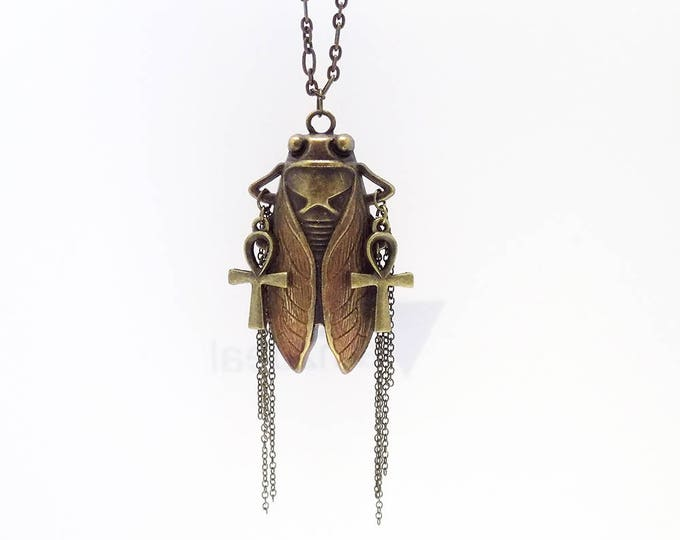 hand made cicada insect necklace