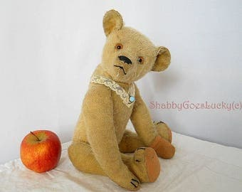 Antique German or French teddy bear, 1920s made restored yellow mohair teddy with hump + long bent arms, 14 inches tall