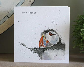 Puffin Card, Puffin Blank Seaside Greeting Card, Bird Birthday Card, for bird lovers, Ahoy there