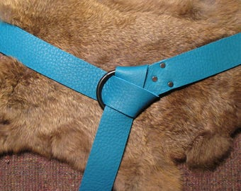 Turquoise bull hide leather ring belt with blackened rings and rivets for medieval garb #1148 series A-F