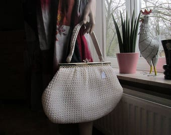 Vintage crochet bag made in Italy.White crochet bag with silver detail.Vintage white raffia hand bag.