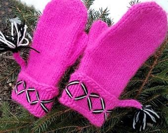 Swedish Lovikka mittens, handmade knitted mittens. Felted wool mittens pink embroidery Size M boho mittens scandinavian design gift folklore