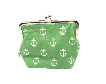 Metal frame kiss lock purse Anchor green